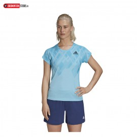 ADIDAS COLOR BLOCK TEE WOMEN CYAN